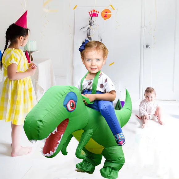 Funnyinflatable Halloween Ride On T-REX Inflatable Costume Multicolor Dinosaur Riding Toy Blow Up Party Toy Fancy Dress For Kids