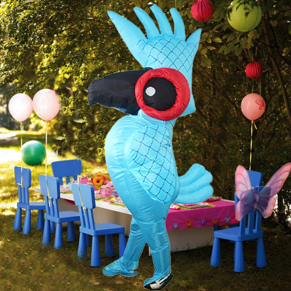 Funnyinflatable Halloween Blue Parrot Inflatable Costume Full Body Blow up Suit Cosplay Party Fancy Dress Large Size Jumpsuit For Adults