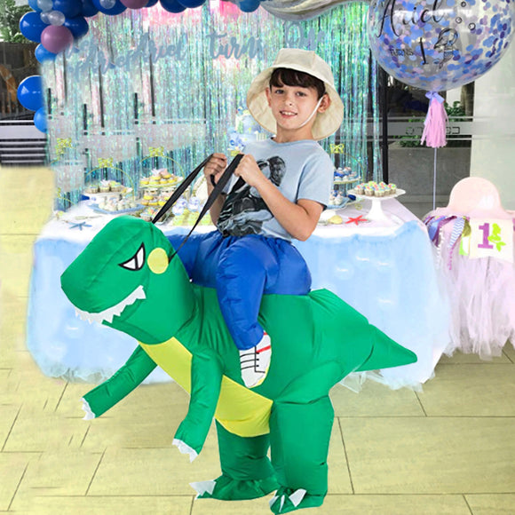 Funnyinflatable Halloween T-REX Ride On Inflatable Costume Dinosaur Blow Up Suit Cosplay Party Toy Fancy Dress With Hat For Kids Teens Adults