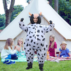 Funnyinflatable Halloween Cow Inflatable Costume Cosplay Themed Party Toy Full Body Animal Blow Up Jumpsuit Cowboy With Gloves For Adult