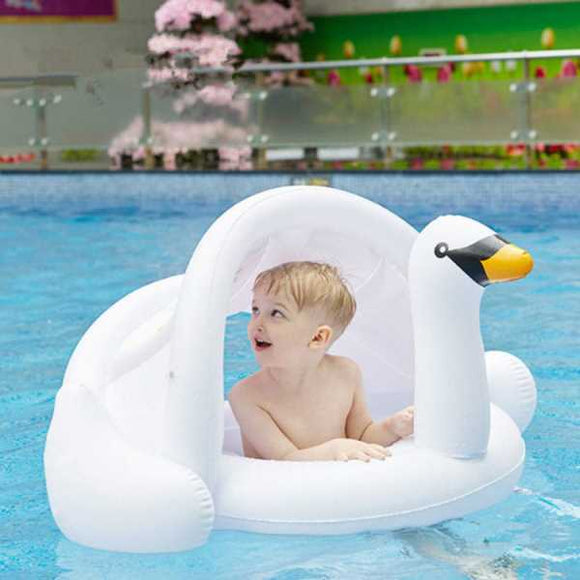 Funnyinflatable Baby Swimming Ring with Canopy Inflatable Flamingo Pool Float Sunshade for Infant Kids Boys Girls Toddlers Swan Water Fun Toy Age 8-48 Months