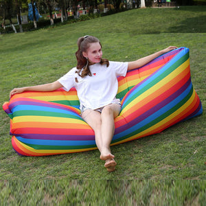 Funnyinflatable Rainbow Stripes Outdoor Lazy Inflatable Sofa Portable Sleeping Bag Out Camping Recliner Folding Air Bedinflatable Bed Comfort airbed mattresses