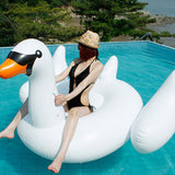 Funnyinflatable Giant Swan Pool Float Lounger Inflatable Rideable Summer Fun Water Toy Blow Up Beach Party Swimming Ring Raft For Kids & Adults