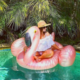 Funnyinflatable Giant  Swimming Ring Flamingo Pool Float Inflatable Summer Water Fun Party Float Seat Rose Gold Lounged Bed Ride-On Rafts For Adults & Kids