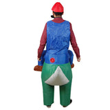 Funnyinflatable Halloween Yoshi Inflatable Costume Men's Mario Blow Up Suit Cosplay Party Toy Ride On Fancy Dress For Adult (With Hat&Beard)