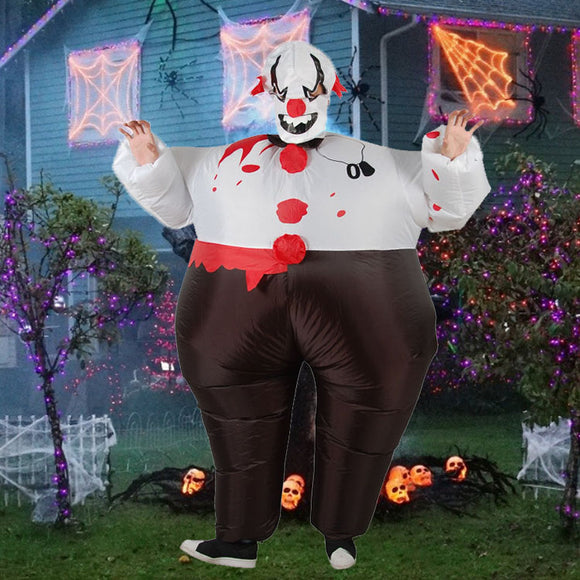 Funnyinflatable Halloween Evil Clown Inflatable Costume Full Body Fancy Dress Cosplay Blow Up Bodysuit For Adult (With Hat)