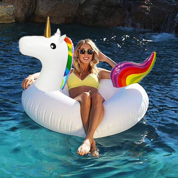 Funnyinflatable Giant Unicorn Pool Float Swimming Ring Inflatable Rainbow Raft Rideable Summer Beach Party Lounger Bed Water Fun Toys For Kids & Adults
