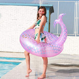 Funnyinflatable Diant Mermaid Swimming Ring Inflatable Floating Row Fish Tail Lifebuoy Decorations Water Fun Toys For Adults/Teens