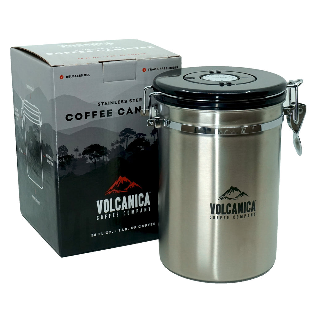 Coffee Canister, Stainless Steel, Large 58 fl. oz - Volcanica Coffee