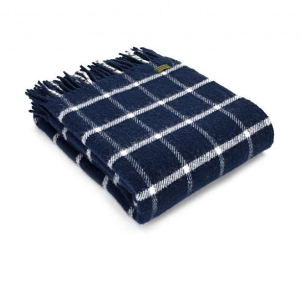 Tweedmills Chequered Check Navy Throw