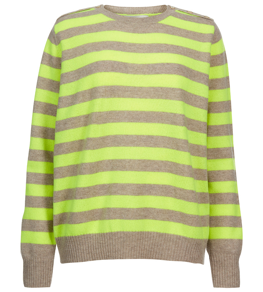 Button Neck Neon Stripe Cashmere