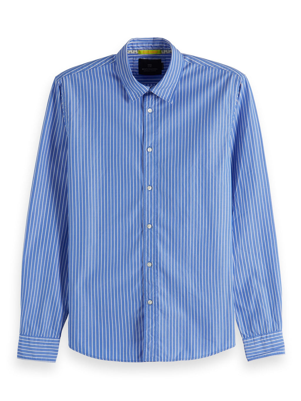 Scotch & Soda Classic Blue shirt with fine white stripes