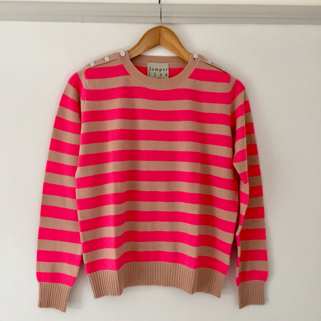 Button Neck Stripe Cashmere