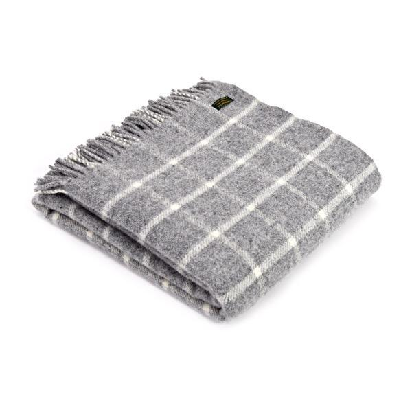 Tweedmills Chequered Check Grey Throw