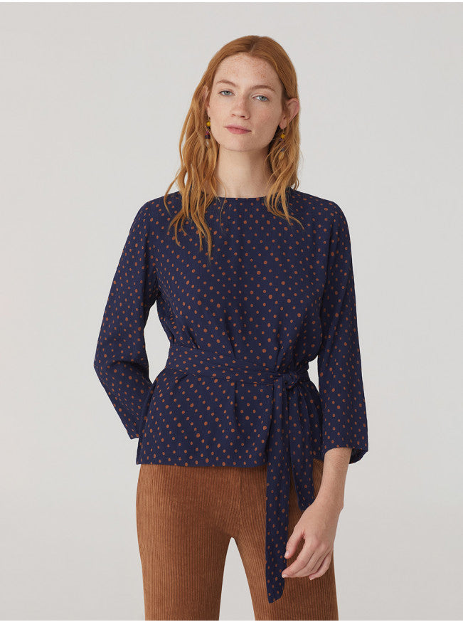 Belted Dot Top