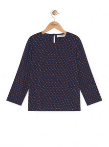 Nice Things Dot Print Navy Belted Blouse