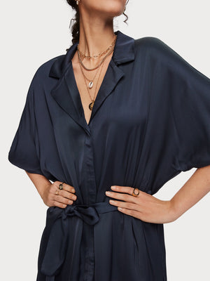Scotch and Soda satin navy shirt dress with belt