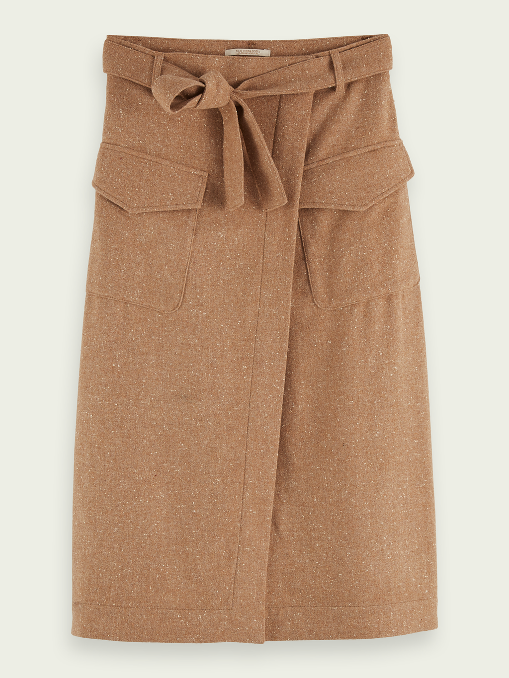 Wool-blend Midi Wrap Skirt