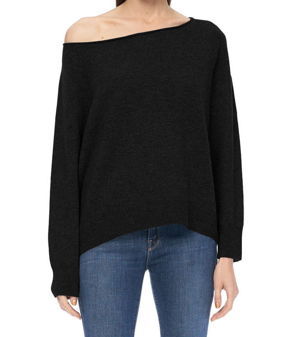 Kacey Cashmere Off Shoulder Sweater Black - The Quarterly