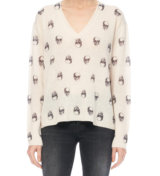 Jolie Cashmere V-Neck Skull Sweater - The Quarterly
