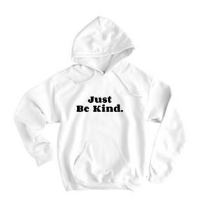 Just Be Kind White Flocked Hoodie - The Quarterly