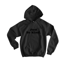 Load image into Gallery viewer, Just Be Kind Black Flocked Hoodie - The Quarterly
