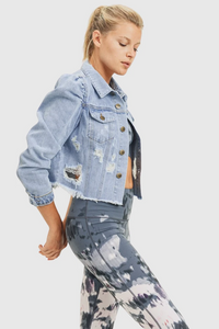 Puffed Sleeve Cropped Distressed Denim Jacket - The Quarterly