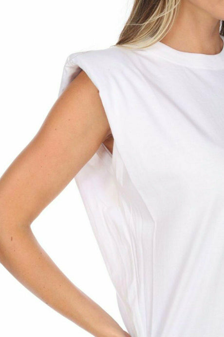 Shoulder Pad Tank White - The Quarterly