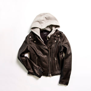 Holy Leather Biker Jacket with Hood - The Quarterly
