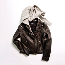 Load image into Gallery viewer, Holy Leather Biker Jacket with Hood - The Quarterly