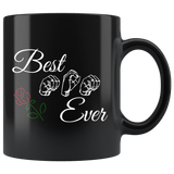 "Sign Language Mug ""Best Mom"" Black Ceramic ASL Coffee Mug"
