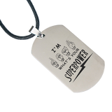 "ASL Necklace ""Super Power"" Engraved Dogtag Necklace"
