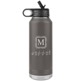 "ASL Merchandise ""Monogram"" Personalized ASL Water Bottle 32oz"