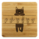 "ASL Merchandise ""Cat Lover"" Etched Bamboo ASL Coaster Set"