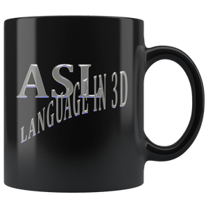 "Sign Language Mug ""Language in 3D"" Black Ceramic ASL Coffee Mug"