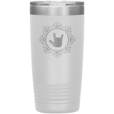"Sign Language Tumbler ""ILY Elegant"" Etched Steel ASL Tumbler 20oz"
