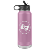 "ASL Merchandise ""Interpreter Hearts"" Etched ASL Water Bottle 32oz"