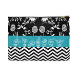 "ASL Bag ""Floral-Chevron"" Zippered Polyester ASL Accessory Bag"