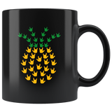 "Sign Language Mug ""ILY Pineapple"" Black Ceramic ASL Coffee Mug"