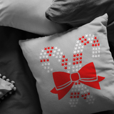 "Holiday ""ILY Candy Cane"" ASL Throw Pillow - Multiple Sizes"