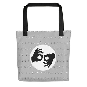 "ASL Bag ""Interpreter"" Polyester 15x15 Pattern ASL Tote Bag"