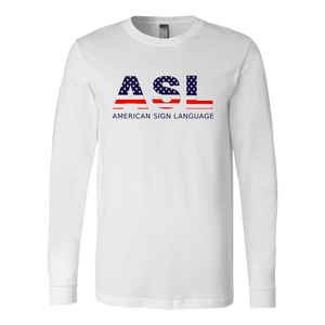 "ASL Shirt ""Flag Letters"" Unisex LS Sign Language T-Shirt"