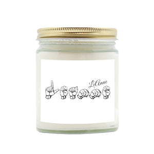 "ASL Home Decor ""Personalized"" Hand Poured 9oz ASL Candle"