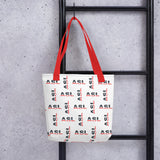 "ASL Bag ""Flag Letters"" Polyester 15x15 Pattern ASL Tote Bag"