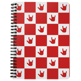 "ASL Stationery ""ILY Checkered"" 5 x 7 Spiral ASL Notebook: Red"