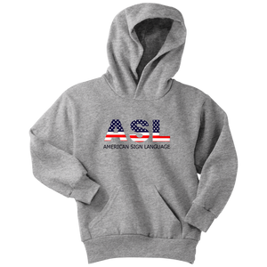 "Sign Language Hoodie ""Flag Letters"" Youth Pullover ASL Hoodie"
