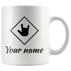 "Sign Language Mug ""ILY Squared-Custom"" White Ceramic ASL Coffee Mug"