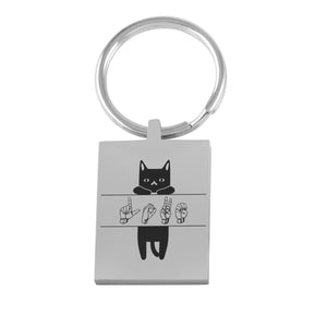 "ASL Merchandise ""Cat Lover"" Engraved Keychain ASL Accessory"