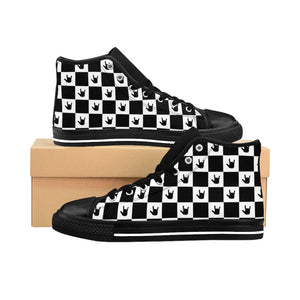 "Sign Language Shoes ""ILY Checkered"" Men's High-top Sneakers: Black"