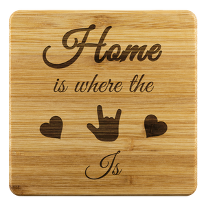 "ASL Merchandise ""ILY Home"" Etched Bamboo ASL Coaster Set"